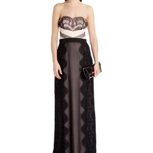 Ted Baker Light Pink and Black Lace Strapless Gown
